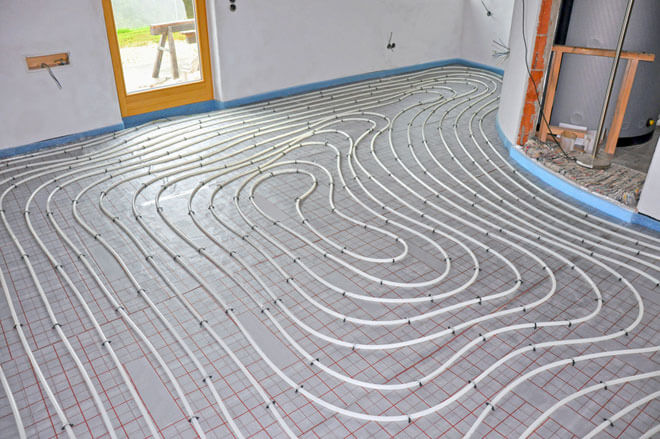 Beispiel einer Verrohrung der Fußbodenheizung
