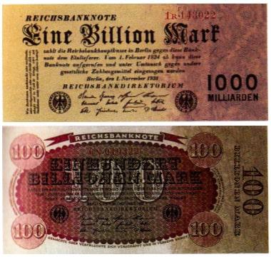 Billionenmarkscheine aus der Zeit der Hyperinflation 1923