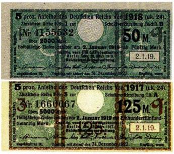 Kriegsanleihen herausgegeben vom Deutschen Kaiserreich zur Finanzierung der Militärausgaben