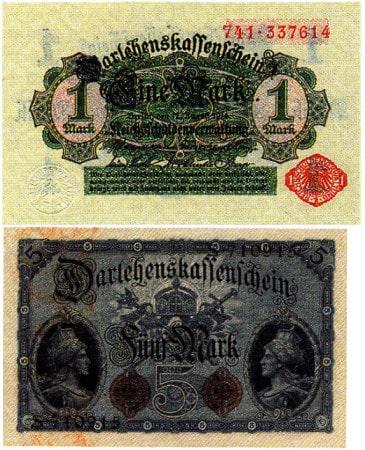 Ein hellgrüner Darlehenskassenschein über 1 Mark und ein graublauer Darlehenskassenschein über 5 Mark