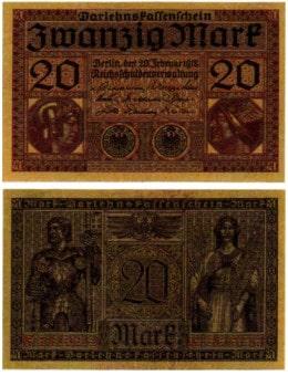 Vorder- und Rückseite eines auf 20 Mark lautenden Darlehenskassenschein aus dem 1. Weltkrieg