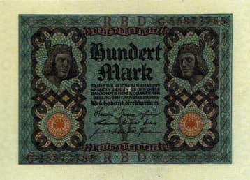 Reichsbanknote über 100 Mark dessen Vorderseite zwei gegeneinander liegende Köpfe des Bamberger Reiters zeigt
