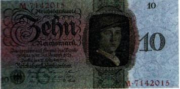 Von der neu gegründeten Reichsbank herausgegebene Geldnote über 10 Reichsmark