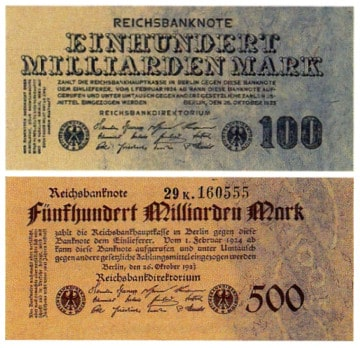Geldscheine der Werte 100 Milliarden Mark und 500 Milliarden Mark herausgegeben während der Hyperinflation