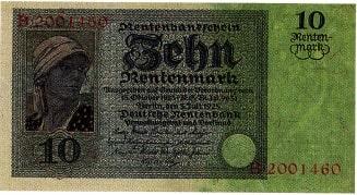 Von der Rentenbank herausgegebener Schein über 10 Rentenmark von 1925