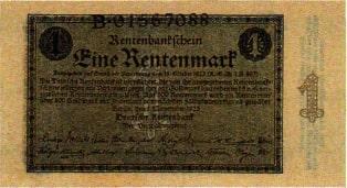 Von der Rentenbank im Zuge der Währungsreform 1923 ausgegebener Geldschein über 1 Rentenmark
