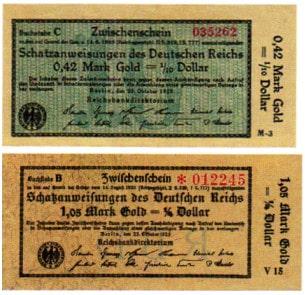 Gestückelte Scheine auf Schatzanweisungen des Deutschen Reiches während der heißen Phase der Inflation im Oktober 1923